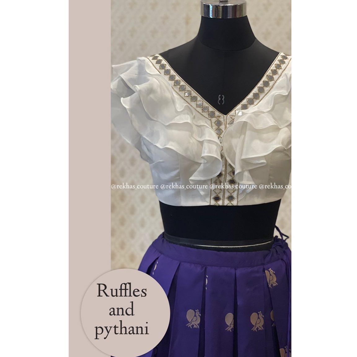 Pythani look lehenga with ruffle pattern mirror work blouse. 2021-07-18