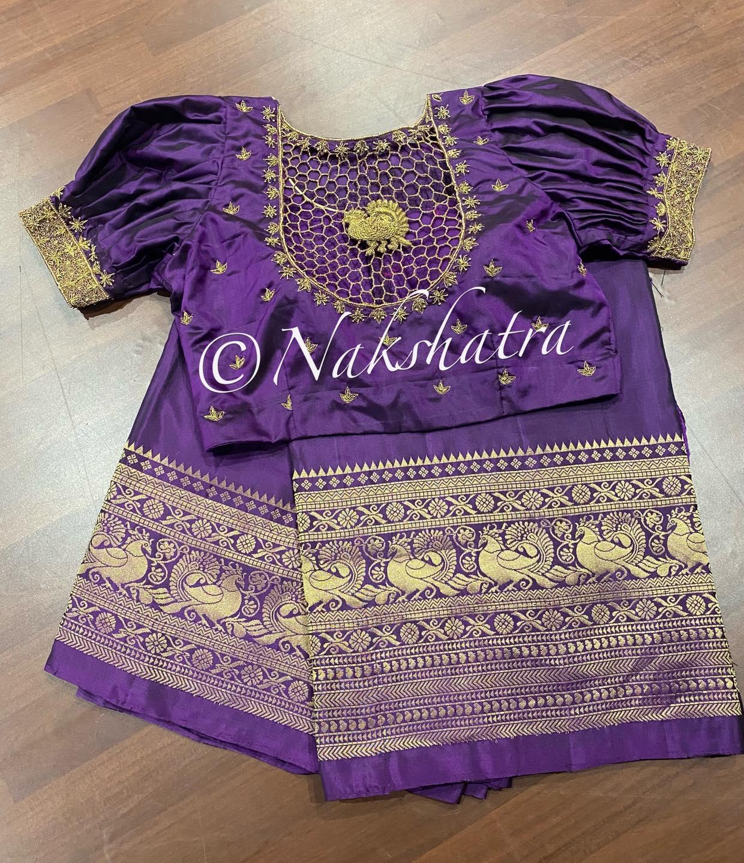Kanchi soft silk saree with beautiful hand embrodiery cut work blouse . 2021-07-18
