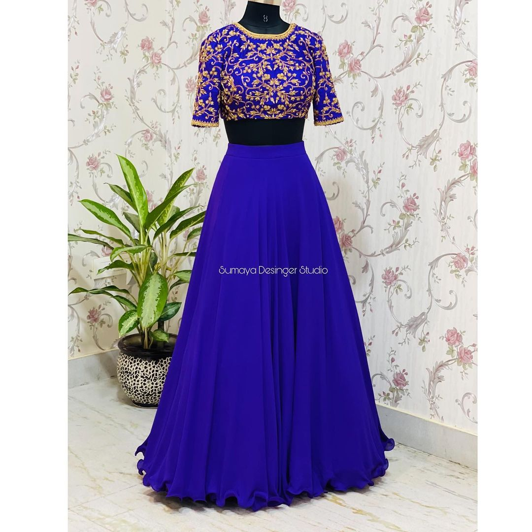 Dressing well is not about fashion or vanity. It's about self-expression  self-acceptance  self-love  and teaching others how to treat you. Royal blue color skirt and crop top with hand embroidery work.  DM for Enquires...! P.S can be customised..... Call  more details