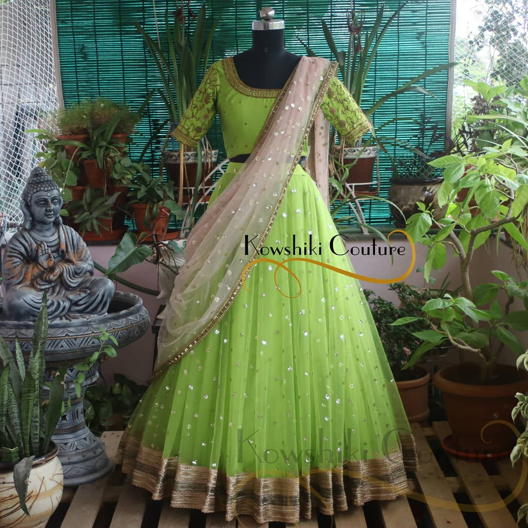 Sheer and Vibrant neon green Lehenga. It looks fresh and attractive for your Reception Look 2021-07-18