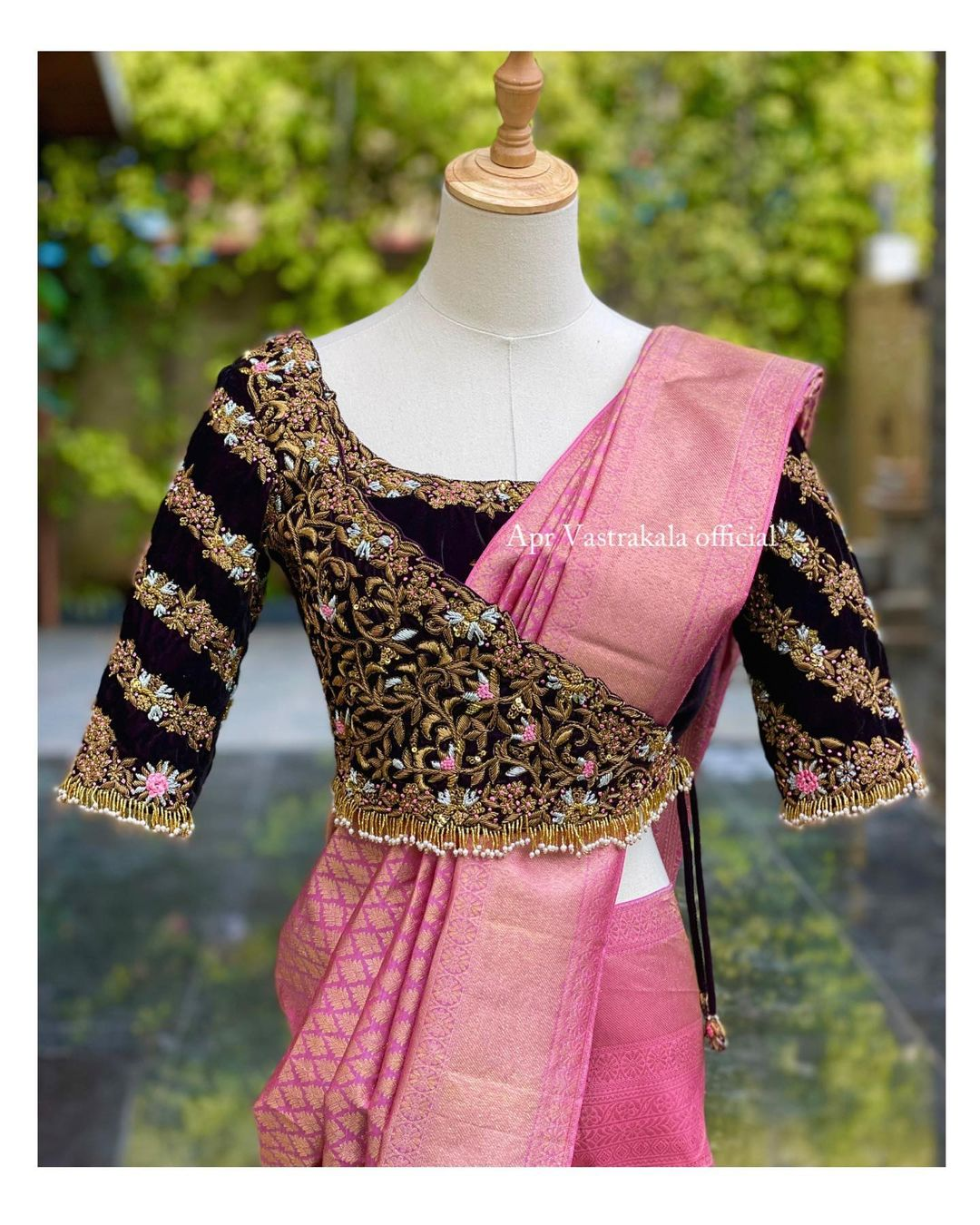 The overlap bridal blouse looks super stylish. Blouse with hand embroidery maggam work.  2021-07-18