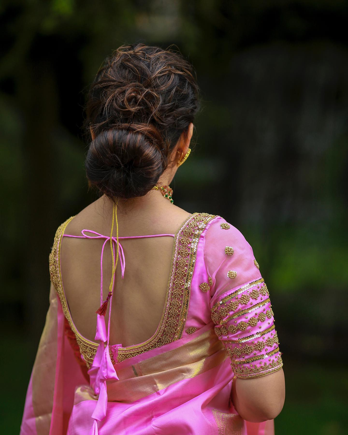 Gorgeous blush pink color bridal blouse with bead stone and gold thread aari work.  2021-07-20