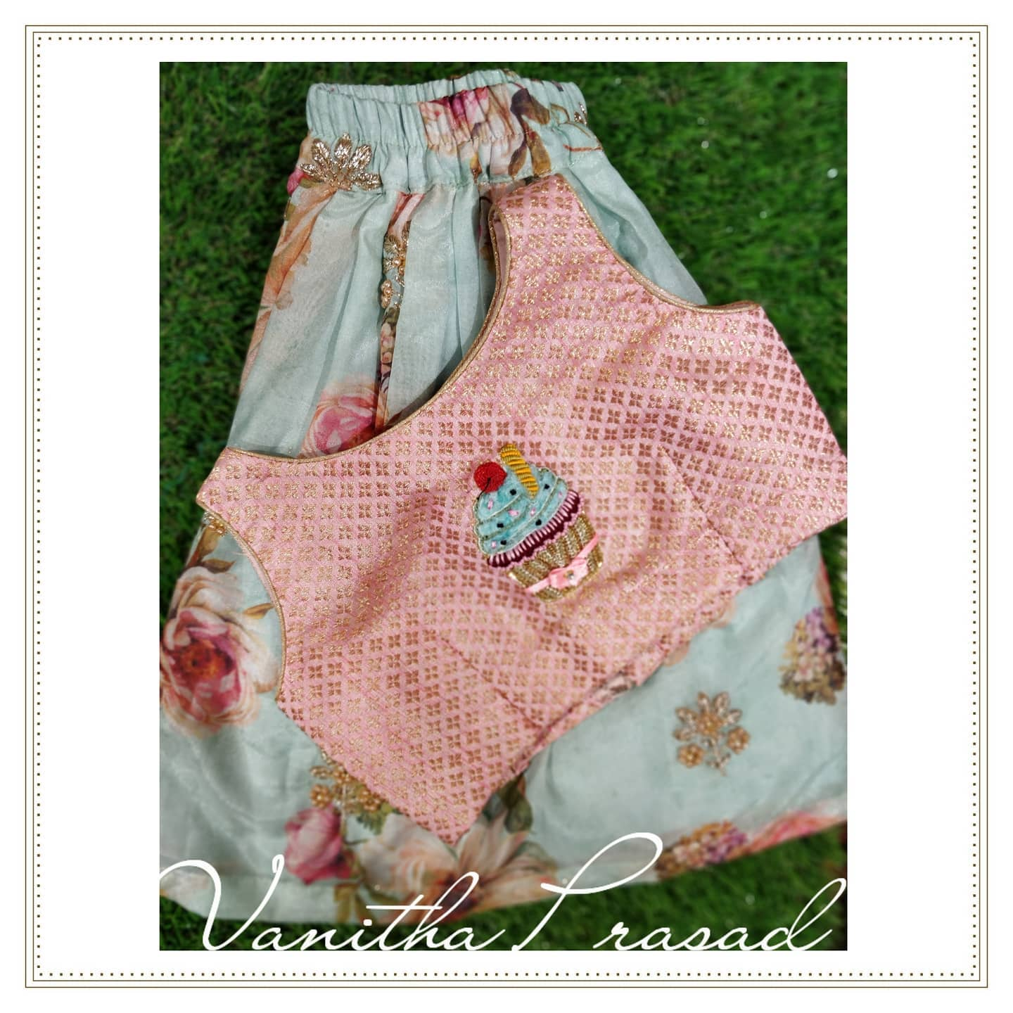 Pastels floral and a yummy cupcake  for this cutest little. Beautiful floral kids skirt and crop top with hand embroidery cup cake on yoke.  2021-07-20