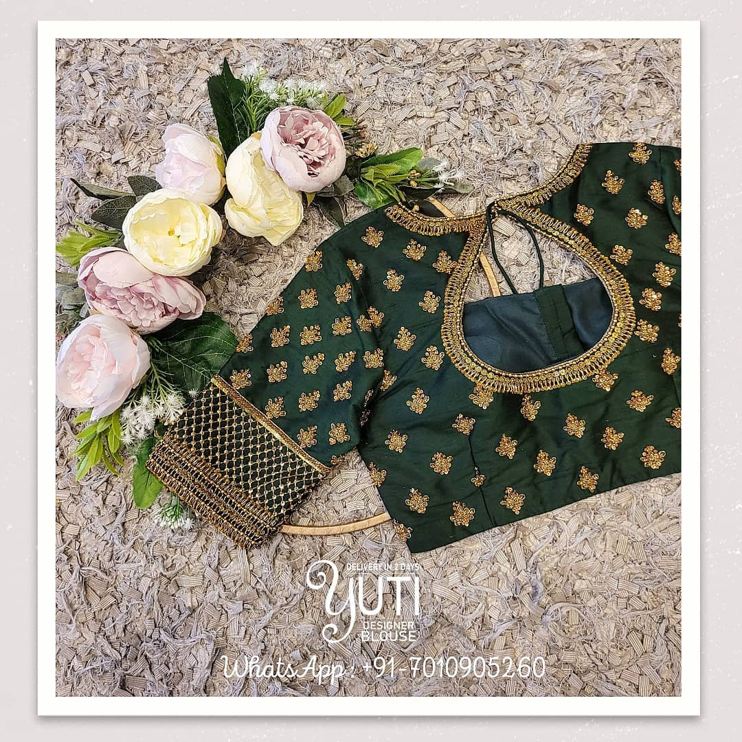 Stunning bottle green color bridal blouse with hand embroidery zardosi work. 2021-07-20