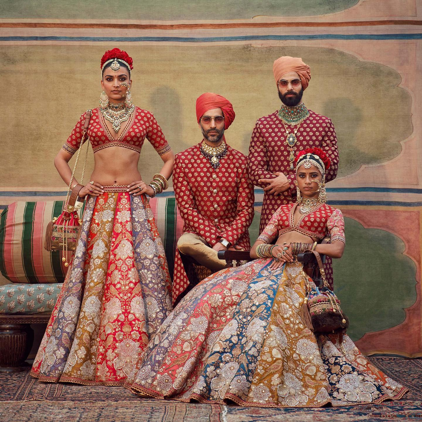 The Sabyasachi 2021 Collection. Bridal lehenga collection.  Disclaimer: The bag featured in the above image has been made using faux fur. At Sabyasachi do not use real fur for any of  products.  For all product related queries please email  at customerservice@sabyasachi.com. 2021-07-20