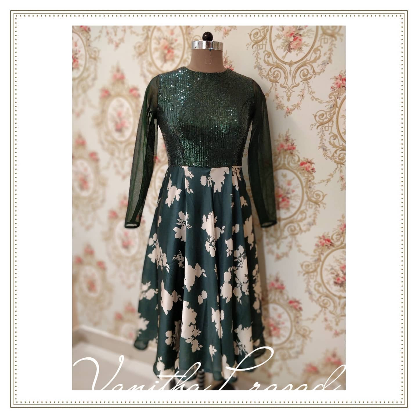 Beautiful bottle green floral and sequin knee length dress. 2021-07-20