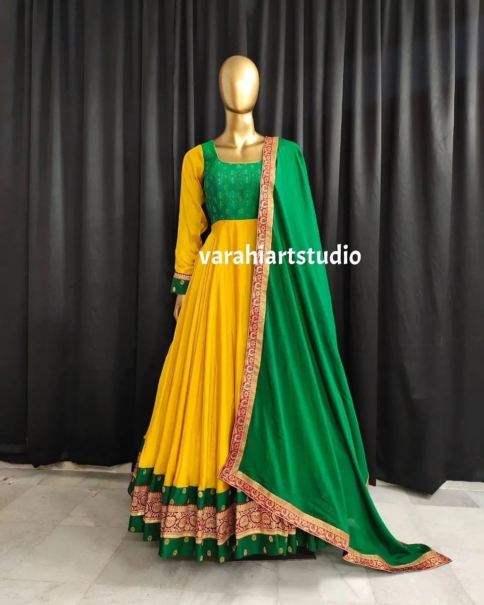 Lovely yellow and green color combination floor length anarkali dress.  2021-07-20