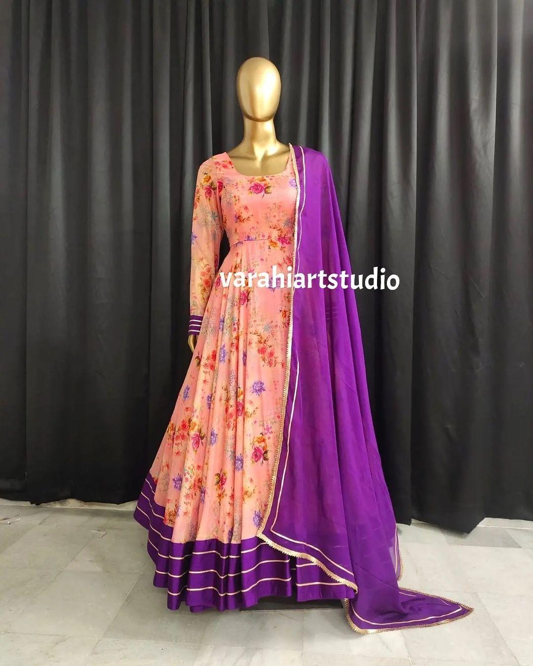Beautiful blush pink color floral floor length anarkali dress with purple dupatta. 2021-07-20