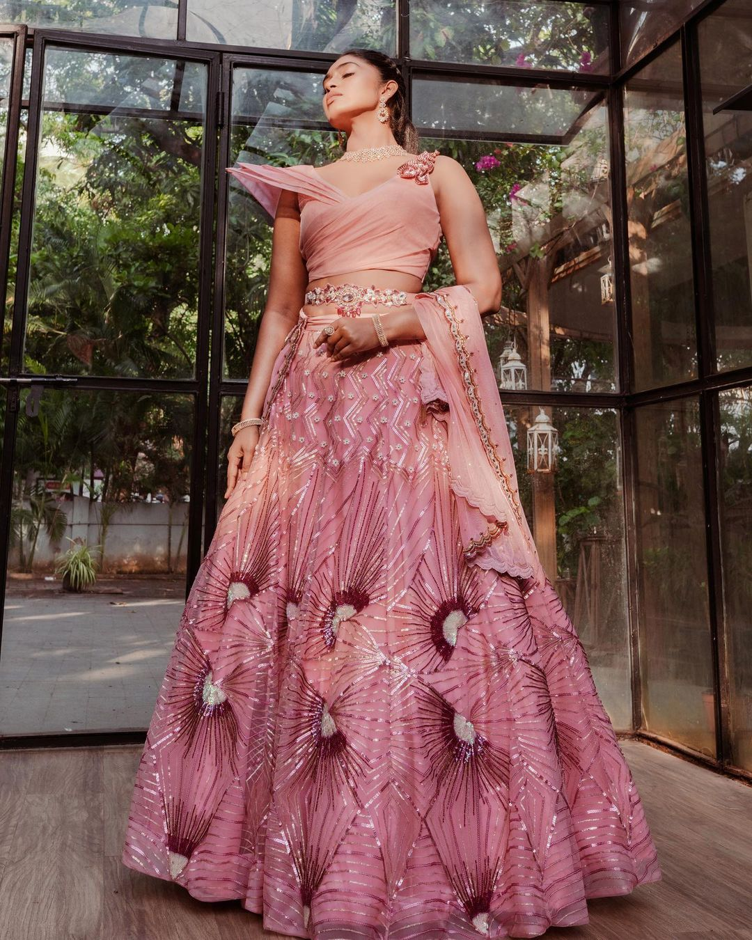 Millennial Bride! This wedding season step into this sculpted croptop and bridal lehenga and make a style statement! Invoking a vibe of grace and glamour this one is for  daring brides! . To customize whatsapp 9442293096. 2021-07-20
