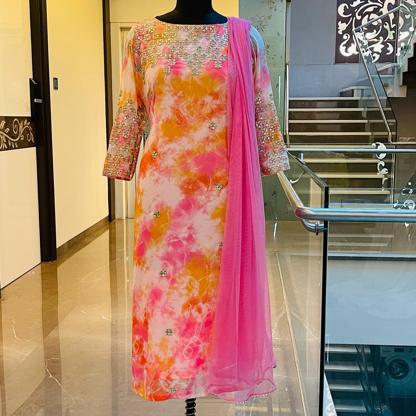 Gorgeous multi color tie die Georgette  kurti with hand embroidery work on yoke.  Price : 5000 INR. To order WhatsApp 7013728388. 2021-07-21