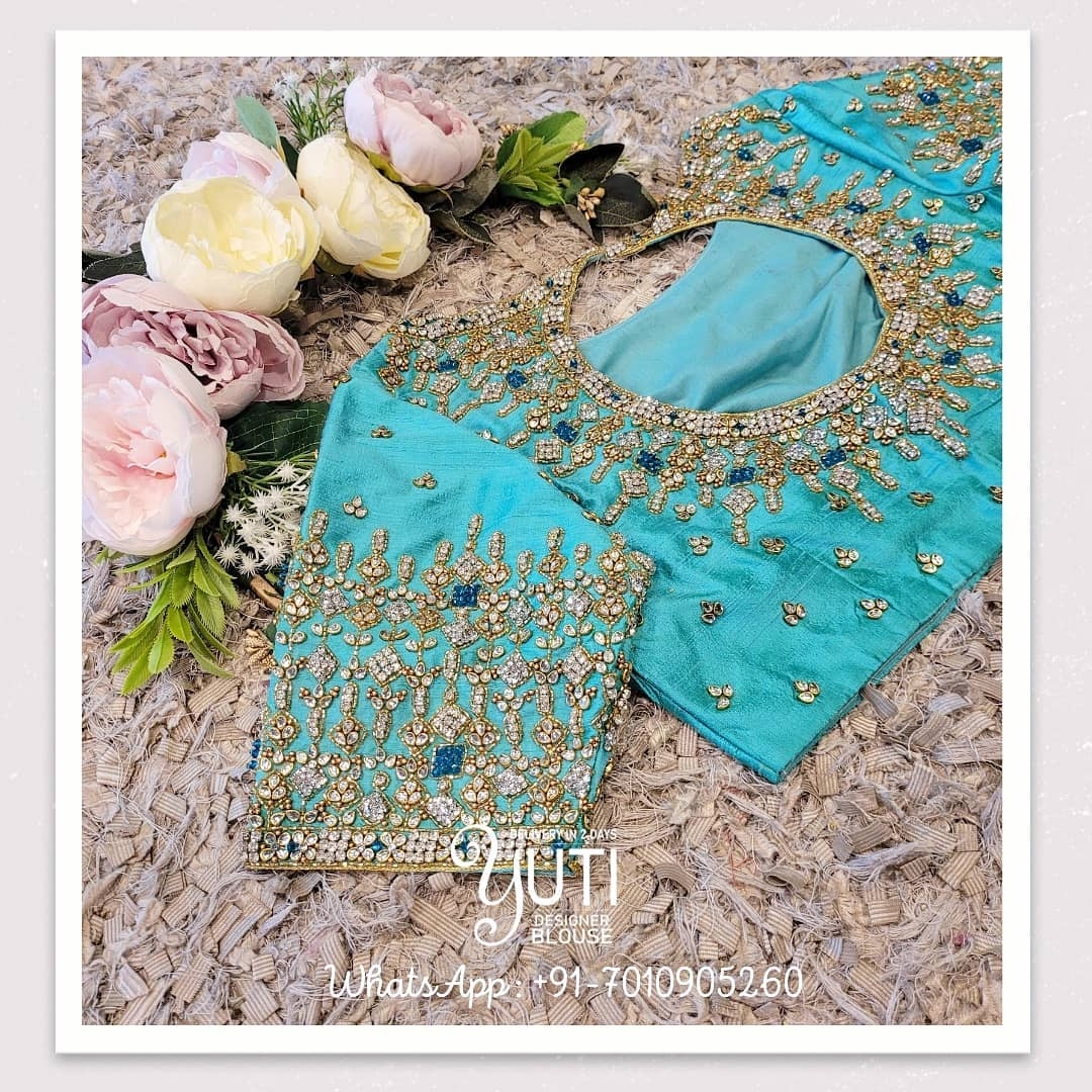 Gorgeous sea green color wedding blouse with stone glass bead hand embroidery maggam work.  2021-07-21