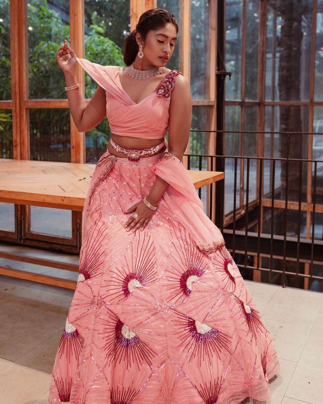 Millennial Bride! This wedding season step into this sculpted croptop and bridal lehenga and make a style statement! Invoking a vibe of grace and glamour  this one is for our daring brides! . To customize whatsapp 9442293096 2021-07-21