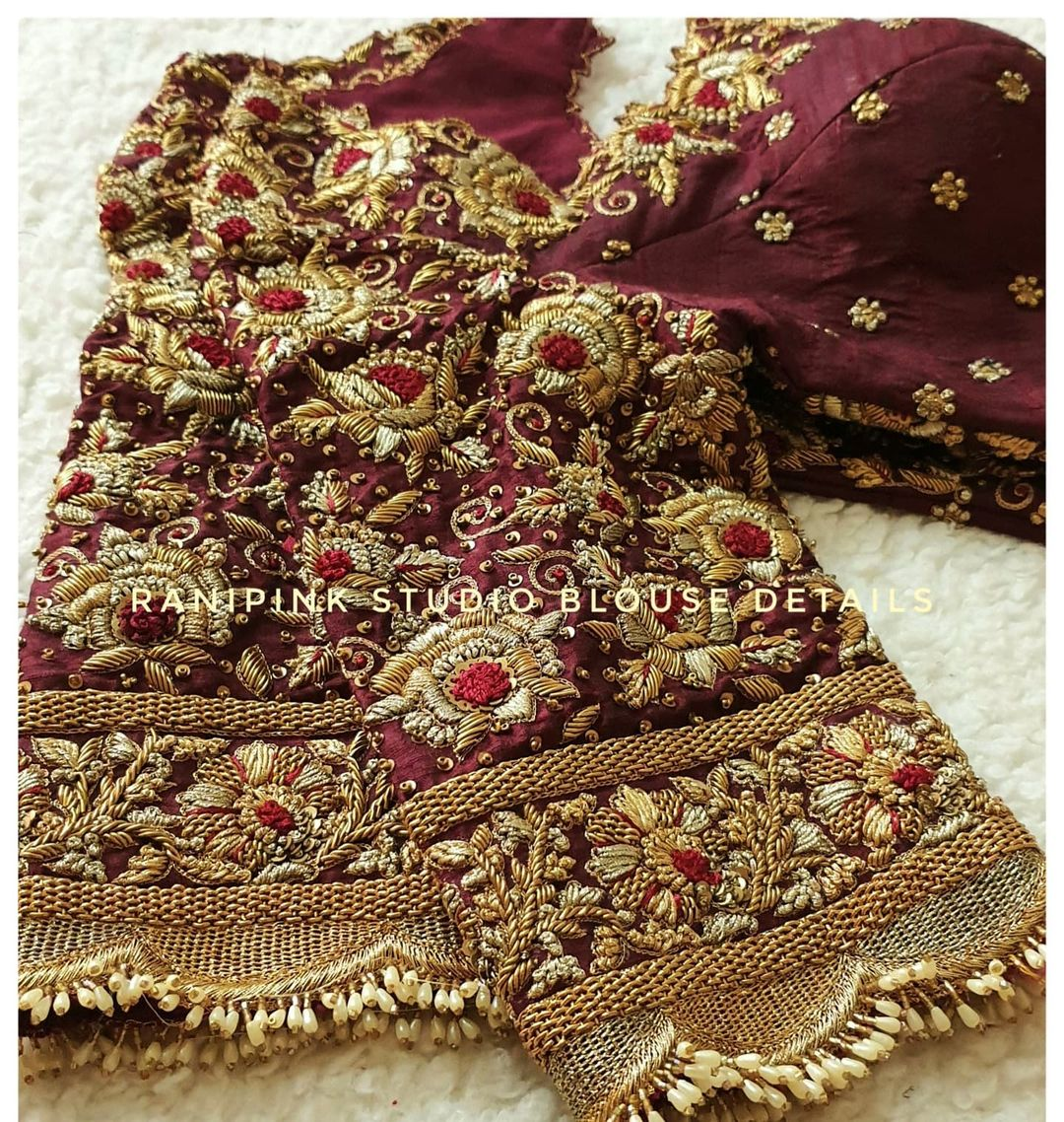 Gorgeous brown color bridal blouse with floral heavy gold thread maggam work.  2021-07-21