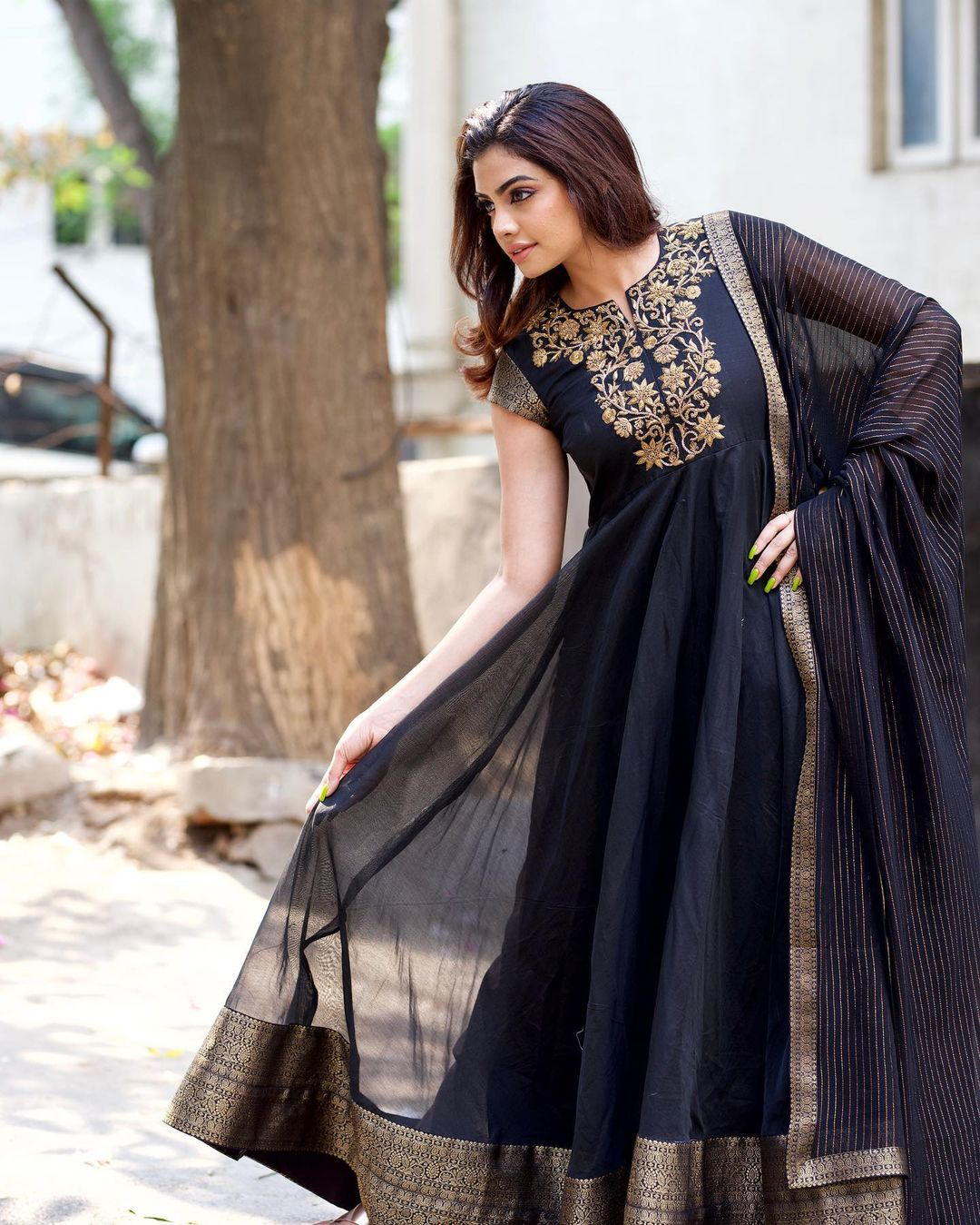 Black obsession. Stunning black color floor length pattu long frock with hand embroidery gold thread work on yoke.    2021-07-21