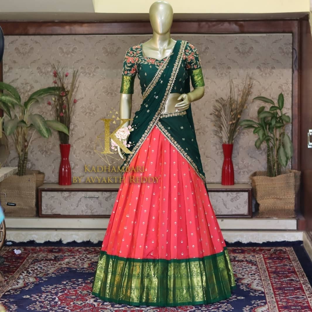 Stunning pink and green color combination pattu langa and green blouse with  embroidery dupatta. Blouse with hand embroidery work.   2021-07-21