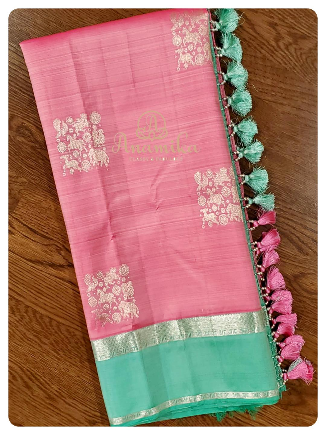 Light weight Kanchipattu saree with a spacing border - in a amazing pastel color combo … paired with an intricately and delicately designed hand worked blouse …  An owners pride and a neighbors envy …   DM 360-545-3636 for inquiries. 2021-07-22