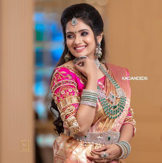 Stunning rani pink color bridal or wedding blouse with bead heavy aari work. 2021-07-22