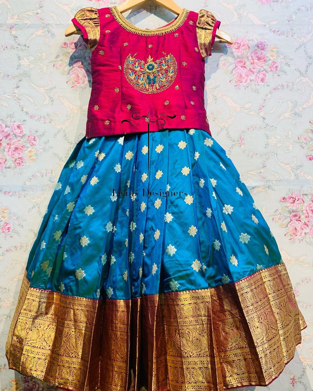 Gorgeous powder blue color kids pattu lehenga and maroon kids long blouse with hand embroidery work.  2021-07-22