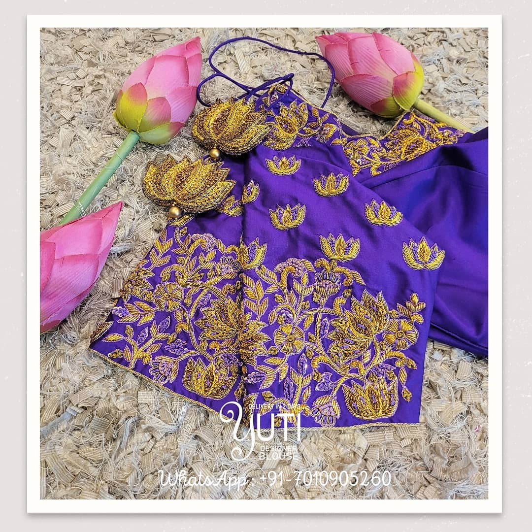 Gorgeous purple color bridal blouse with lotus hand embroidery gold thread  maggam work.   2021-07-22