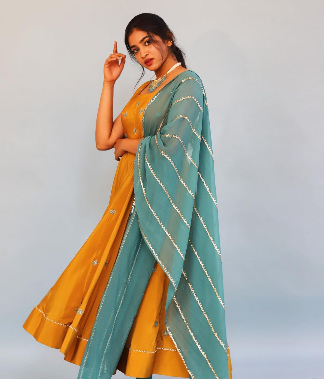 Mustard-dusty blue embroidered Anarkali. 2021-07-22