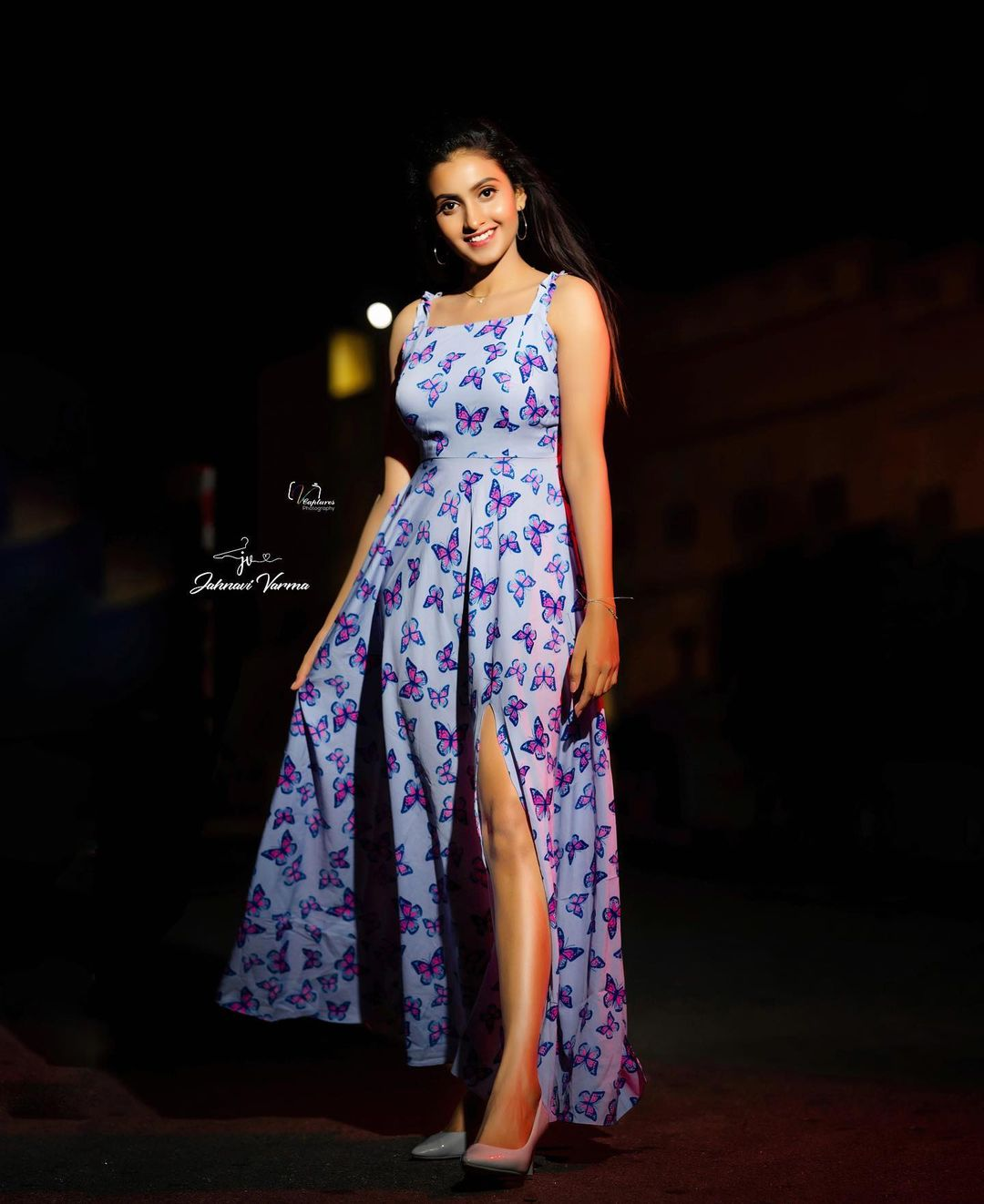 Deepika Pilli looks as cute as a butterfly in  butterfly themed slit frock . Colour and design customisations available .  For price details or To place your orders Call / WhatsApp on 9160210569. 2021-07-23