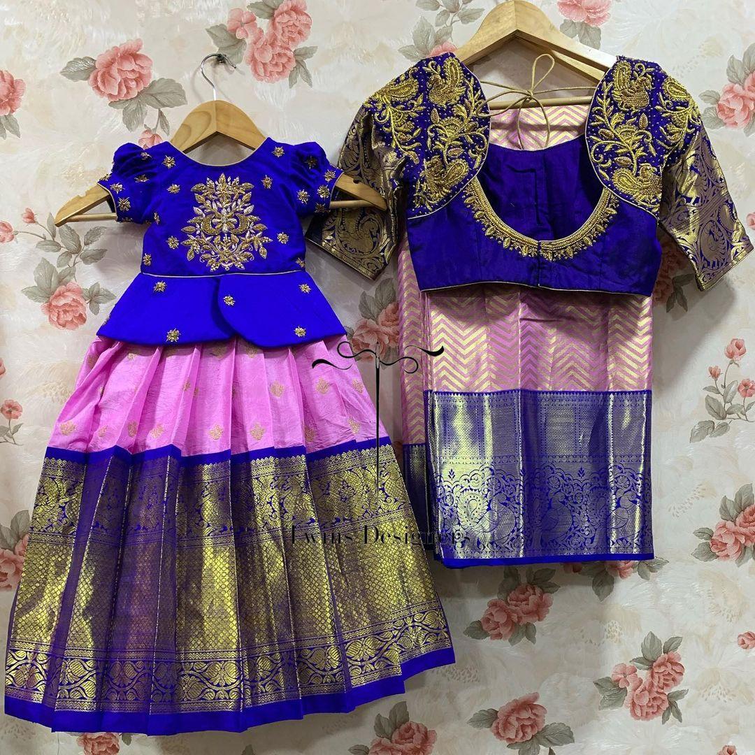 Customised kanchi apttu mom and me combo. For orders call/Whatsapp:8374504389/9059693997 2021-07-23