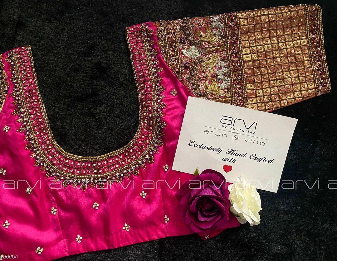 Stunning wedding blouse with bead and stone aari work. 2021-07-23