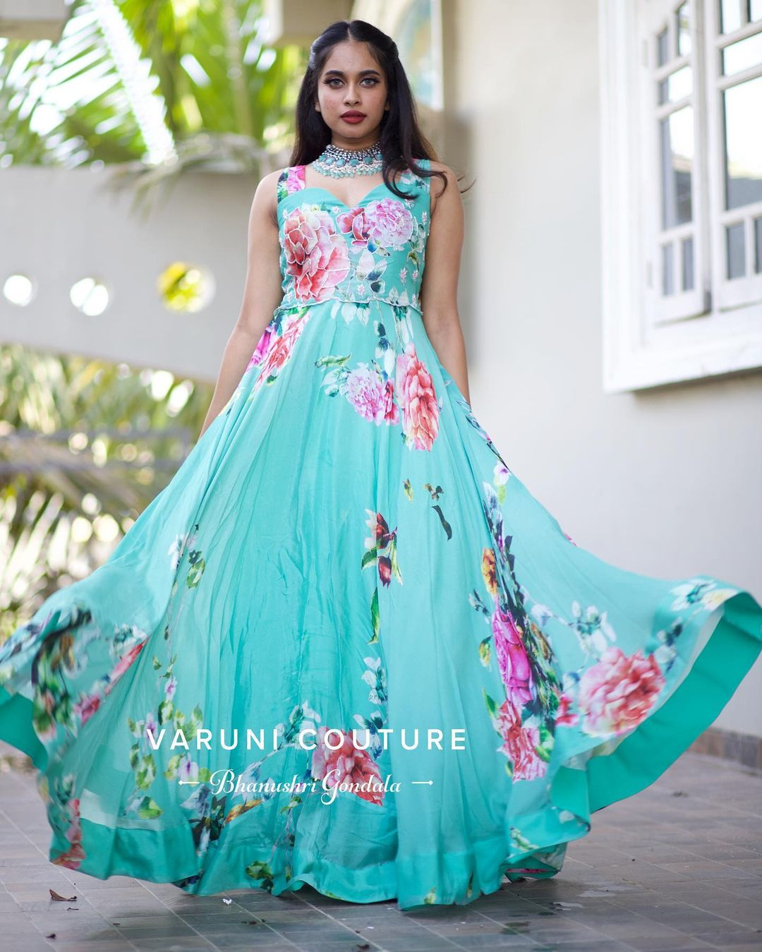 Stunning powder blue color floral long gown. Get this super chick & gorgeous outfit from our FLORA collection. For more info whatsapp us on 9121017226. 2021-07-23