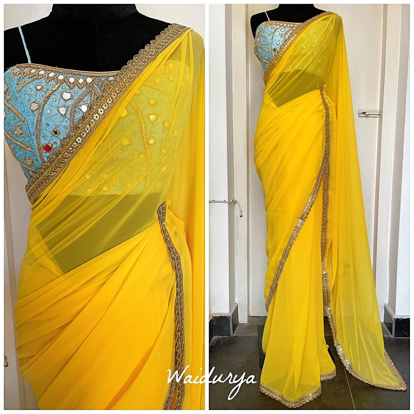 The raw sill sky blue blouse is 100% hand embroidered in mirror work and zardozi embroidery. The sari is a canary yellow georgette one with gold sequin and thread work and a scalloped edge. Love the contrasting colors and the design of this one for summer!! 2021-07-24