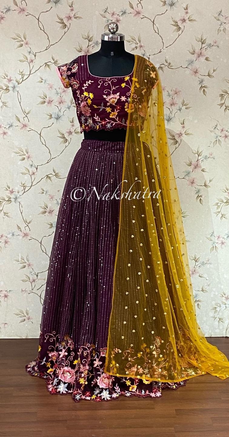 Beautiful Net sequnce lehangas with embroidery available in three beautiful colors . 2021-07-24