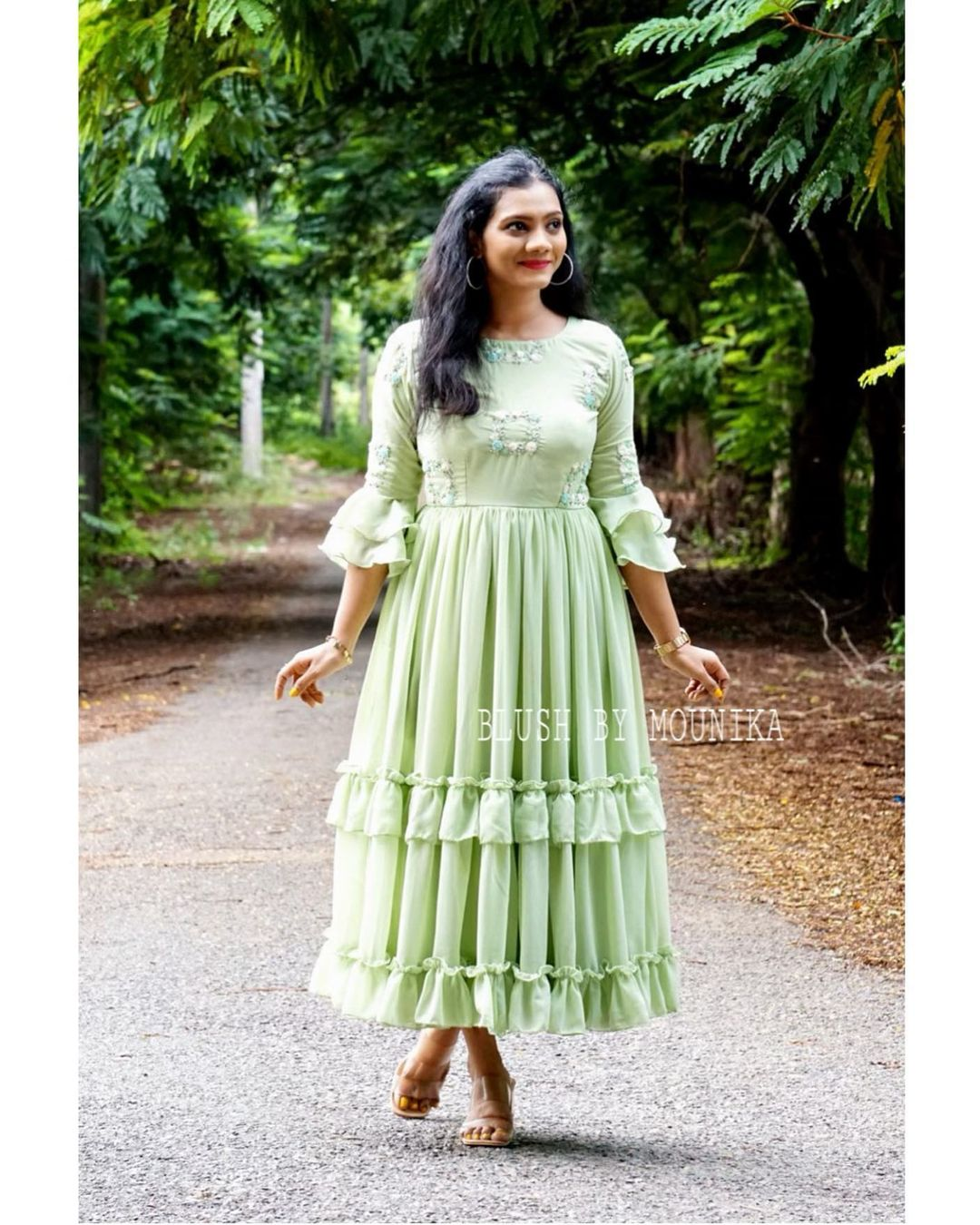 The softest georgette layered and gathered frock with intricate embroidery for the yoke part. Can be made as floor length dress as well on request. Price : ₹4850/- 2021-07-24