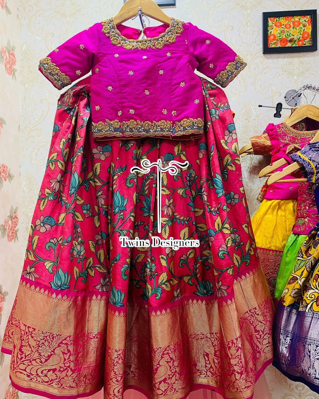 Beautiful Kalamkari pattu kids lehenga and top with hand embroidery work.  2021-07-24
