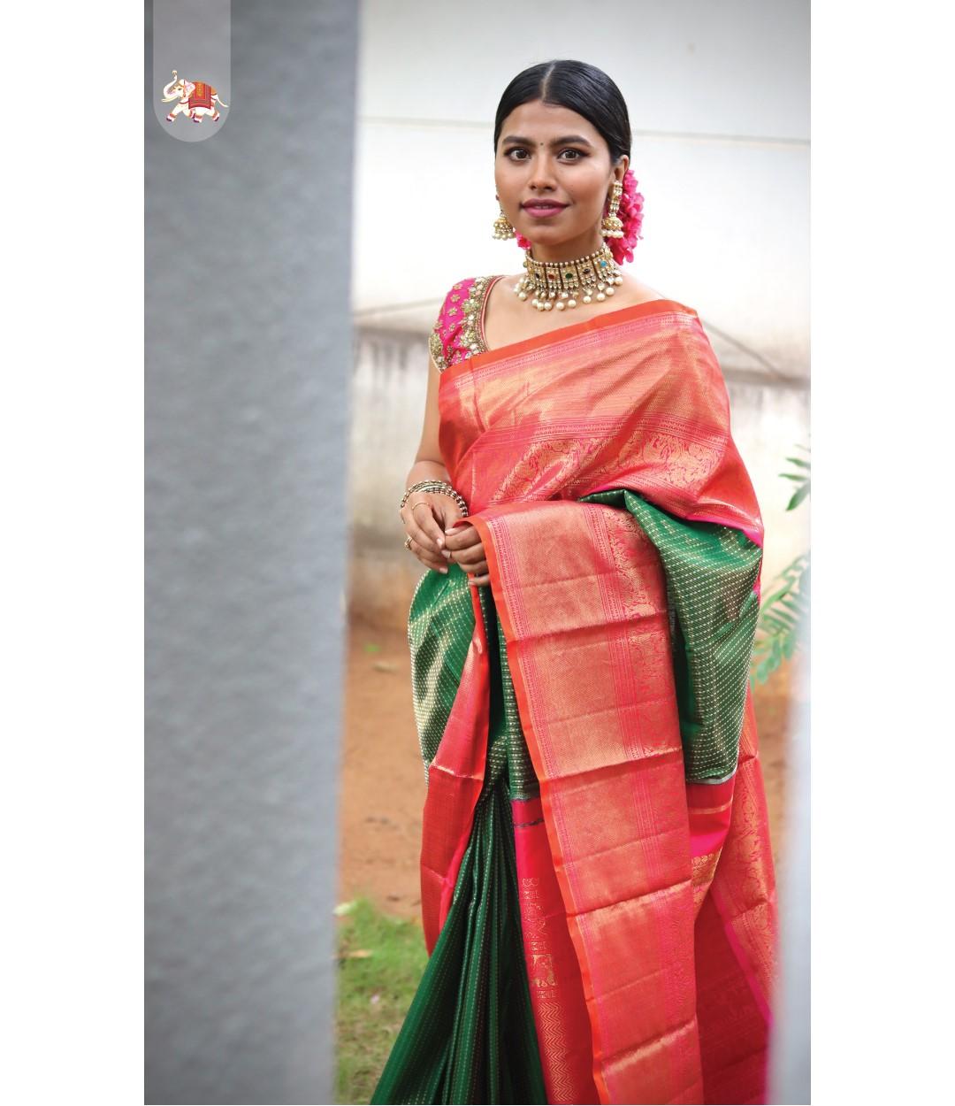 Gorgeous Steffhy Merwin in bottle green silver zari butta Kanchi silk bridal saree! 2021-07-25