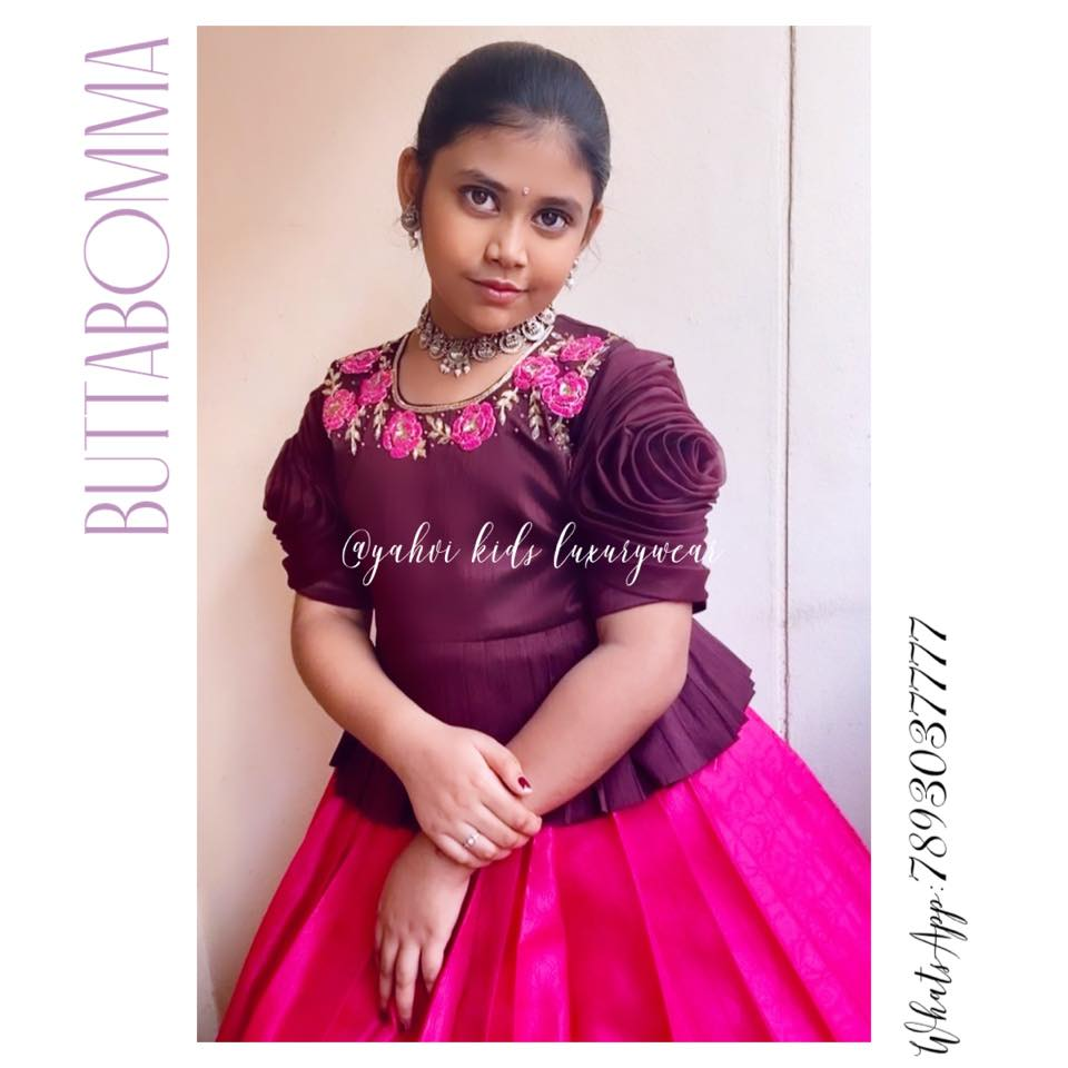 Butta bomma series . Rosette kids lehanga in chocolate coconut blouse and pink colour lehanga .  For Ordere DM or whatsapp 7893037777.  2021-07-25