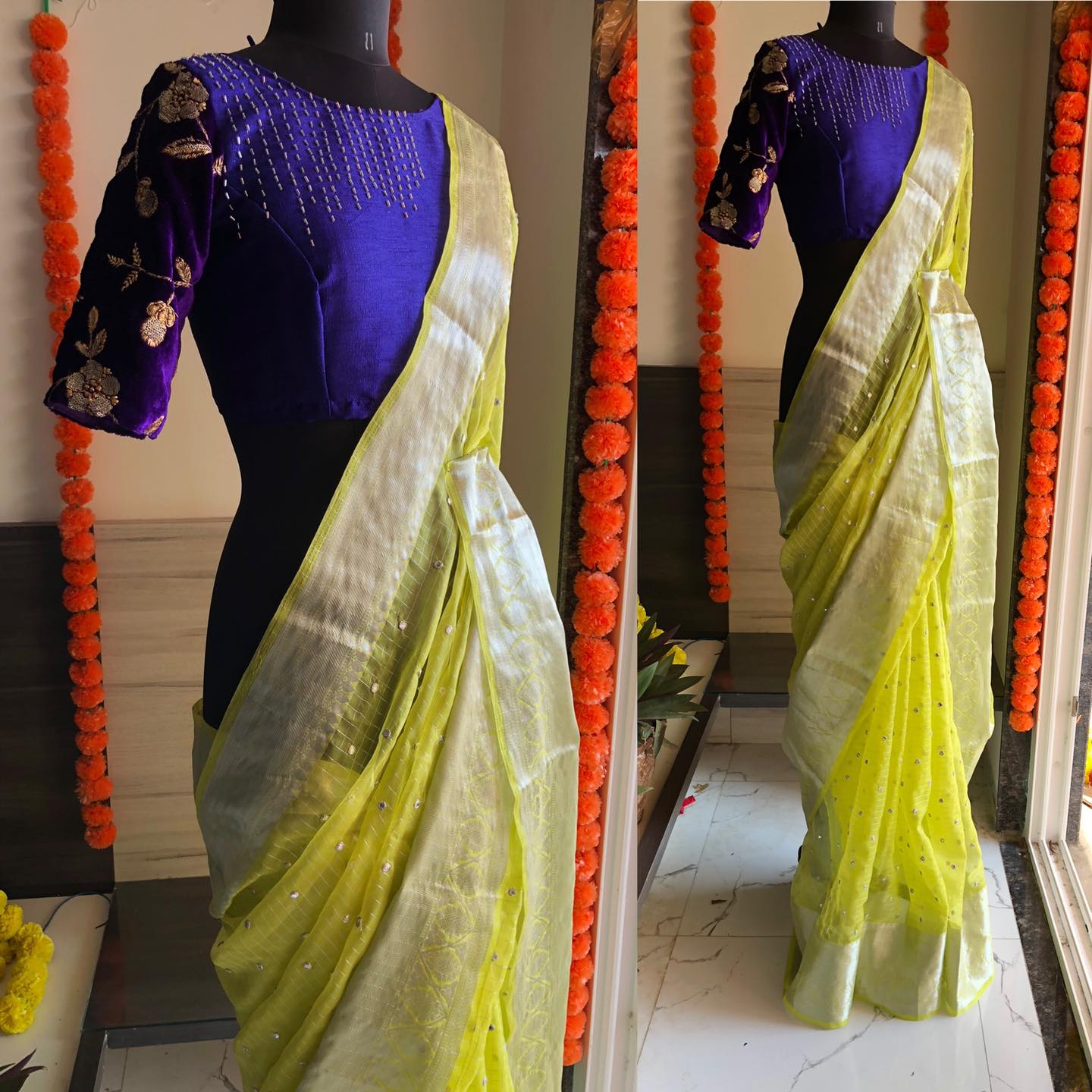 Lemon yellow tissue silk saree with silver border given an full mirror works is paired up with a purple blouse with hand works for front and back..!!  For orders watsapp  on 8072774265 Mail  on orders@Threadslabel.com 2021-07-25