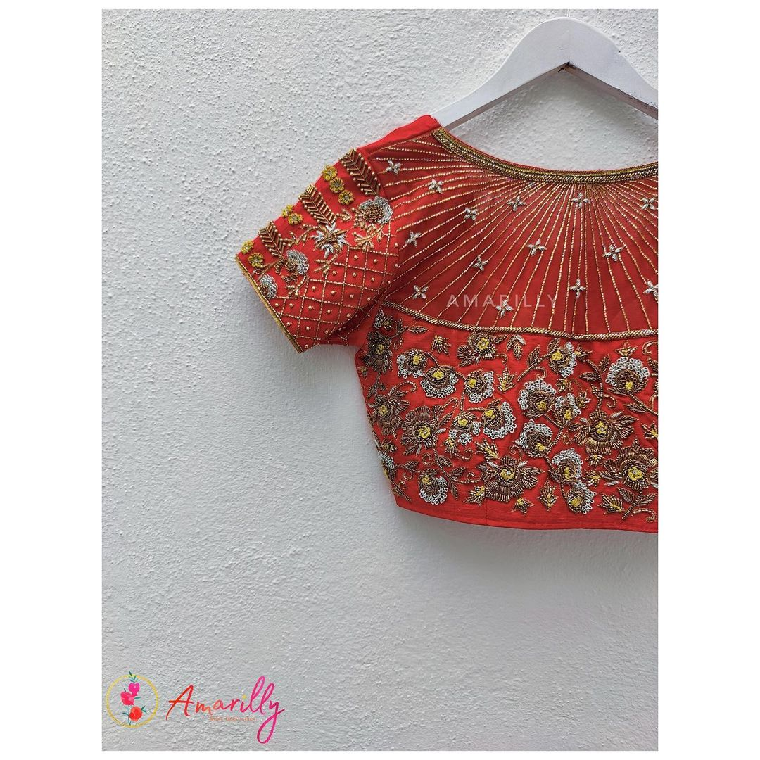 Gorgeous red color bridal or wedding blouse with floral zardosi work. 2021-07-25