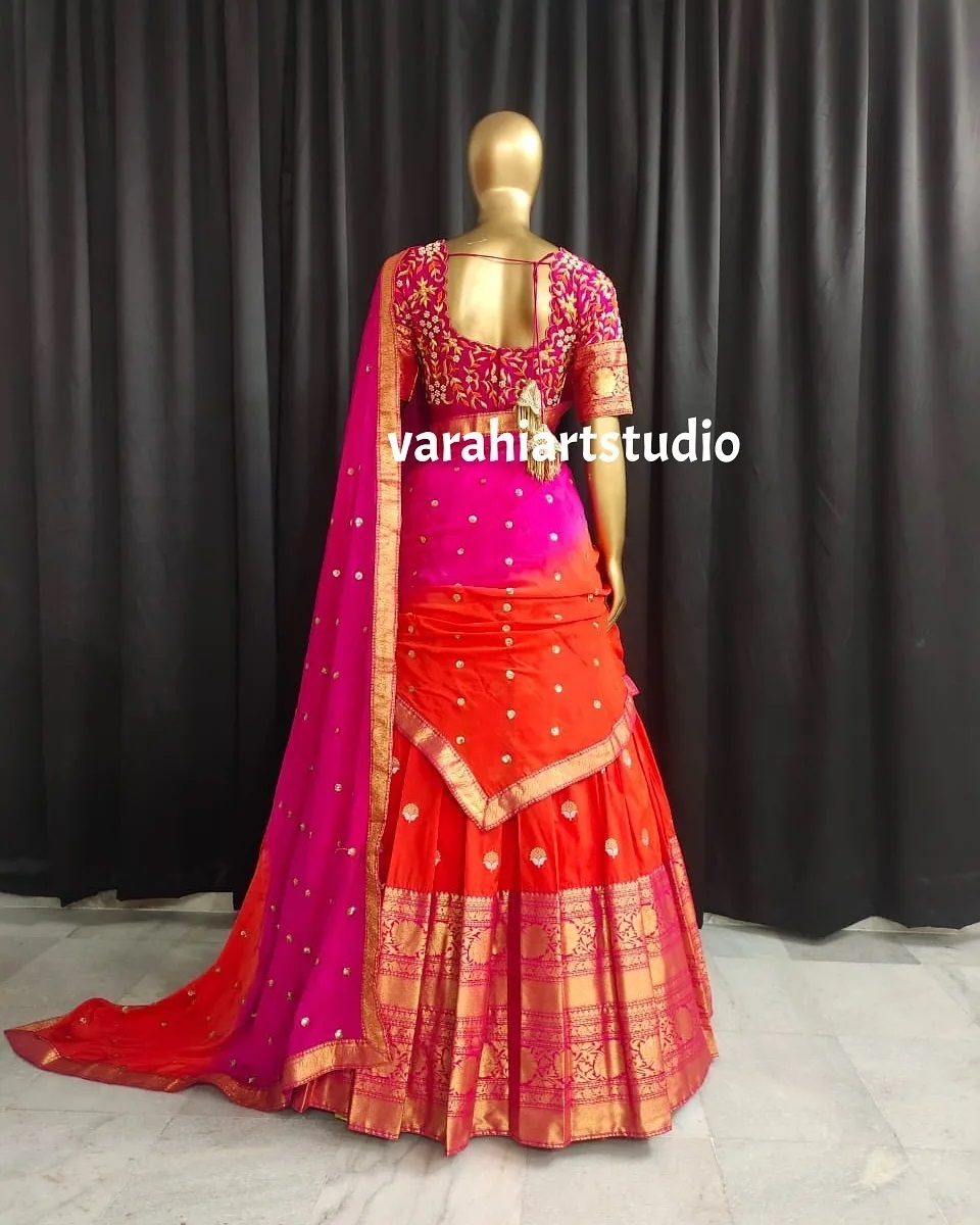 Stunning traditional color pattu langa pink embroidery blouse with pattu dupatta. Blouse with embroidery work.  2021-07-25