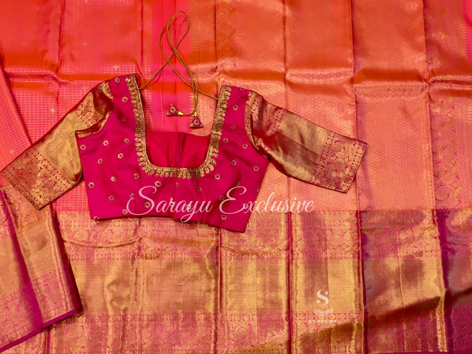 Type: Pure Kanchi Silk Description: Orange/Tomato Red (Kankambram)  Pure Kanchi Silk with rich borders and rich pallu complemented contrast saree blouse handworked blouse !! Exclusively available @Sarayu . Blouse: Yes Fall and Pico: Yes Inner Skirt : No  Tassels : Yes  Price :  650$ 2021-07-26