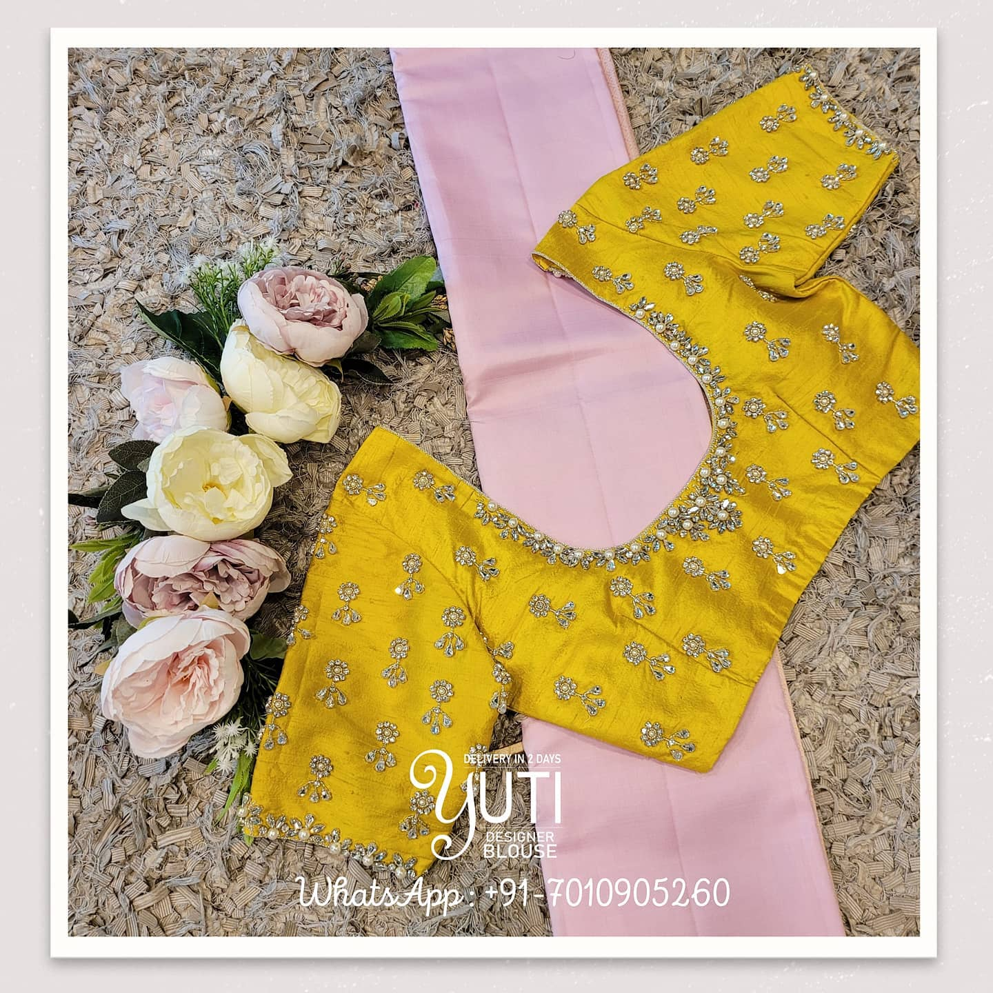 Stunning yellow color silk blouse with sunflower hand embroidery stone classy maggam work.  2021-07-26