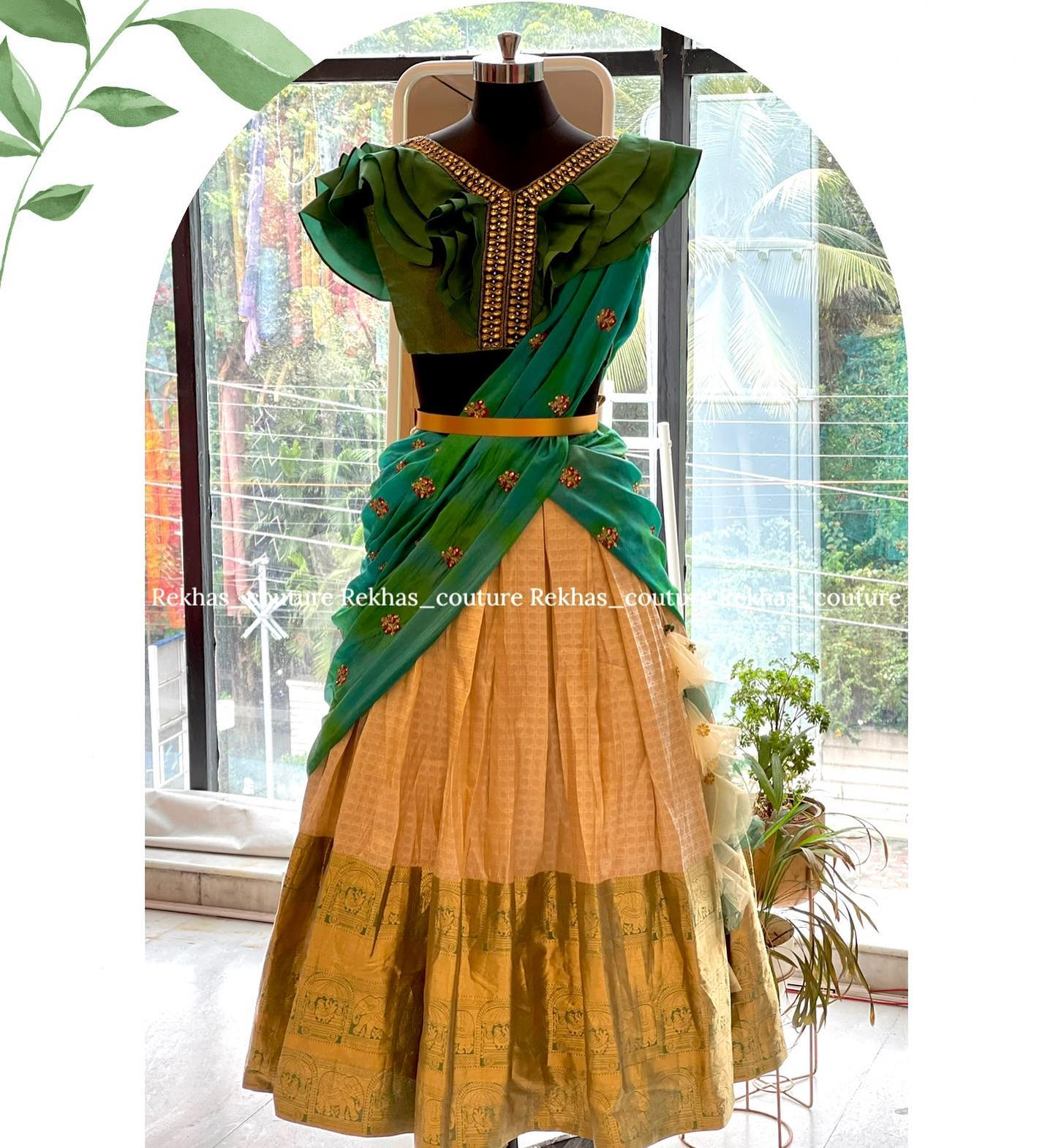 Pythani look silk  lehenga with pure raw silk blouse with heavy embroidery paired with self colour net dupatta.  2021-07-26