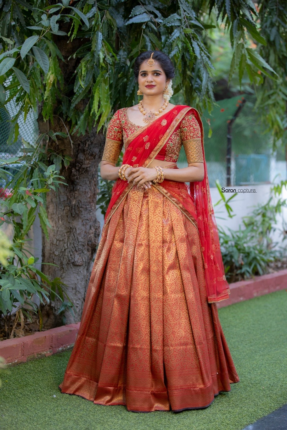 Traditional Half Saree Set. . . Up your bridal game with this stunning traditional half saree set . . . Place your orders now!  . . For orders & queries please whatsapp  on  9952093562 or Reach  on 044 4262 4085. 2021-07-27