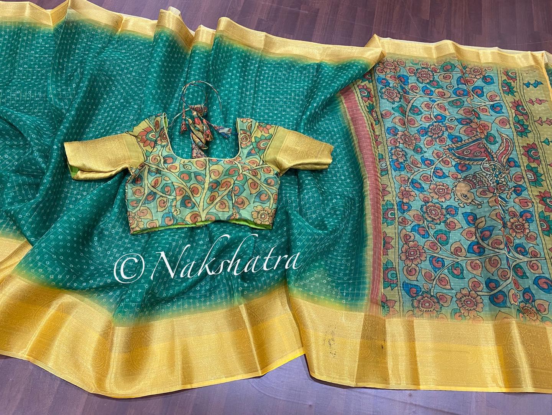 Organza bandhini sarees with kalamkari pallu and kalamkari blouse blouse.  2021-07-27
