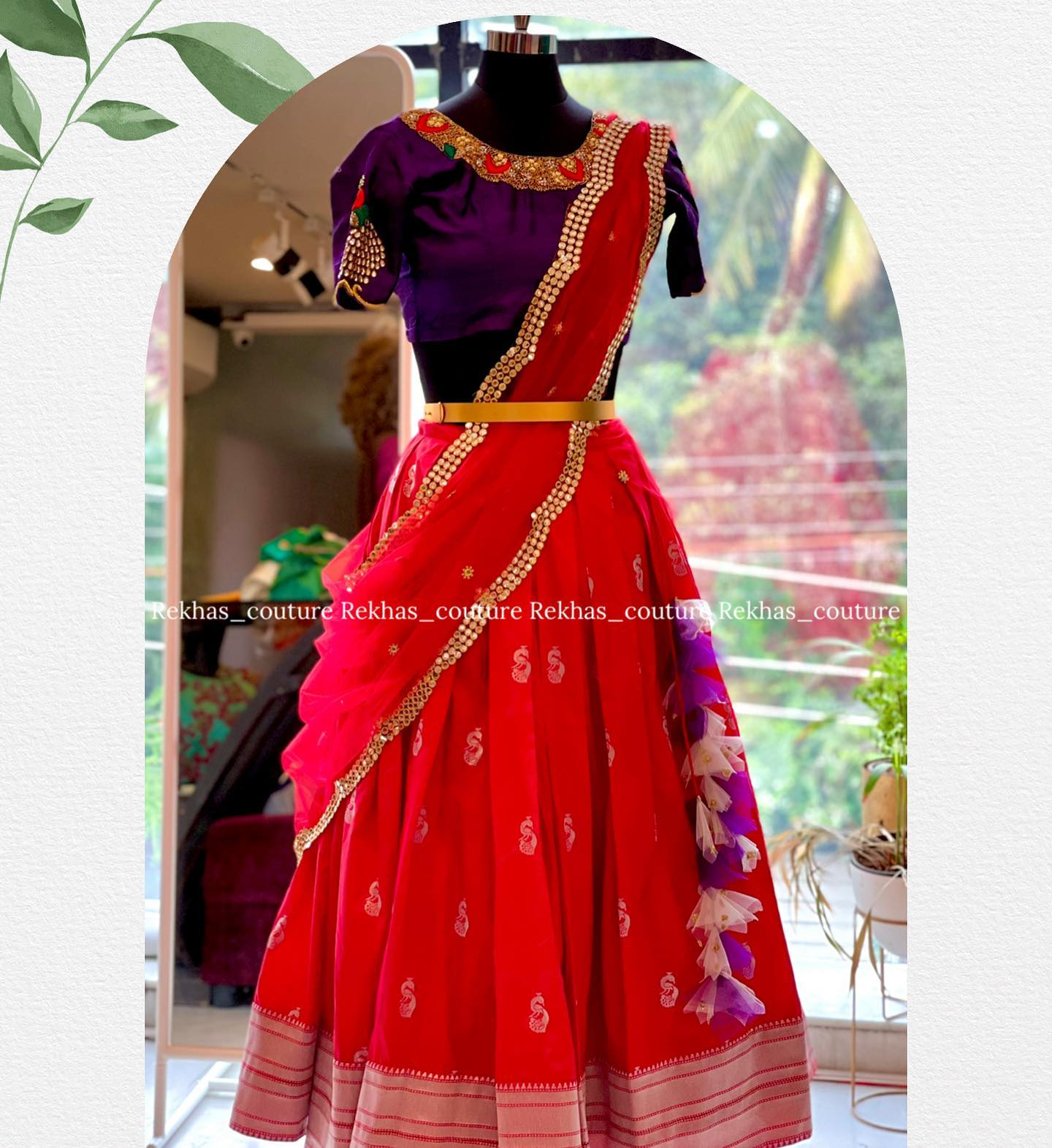 Pythani look silk  lehenga with pure raw silk blouse with heavy embroidery paired with self colour net dupatta.  2021-07-27