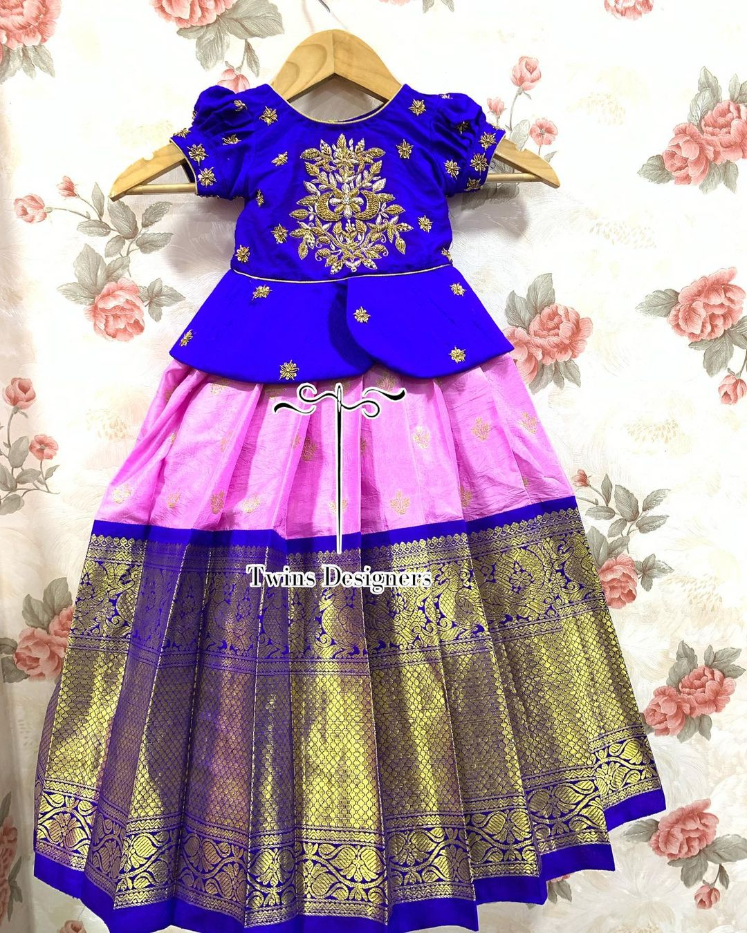 Gorgeous kids pattu lehenga and pavada. Kids long blouse with hand embroidery work.  2021-07-27