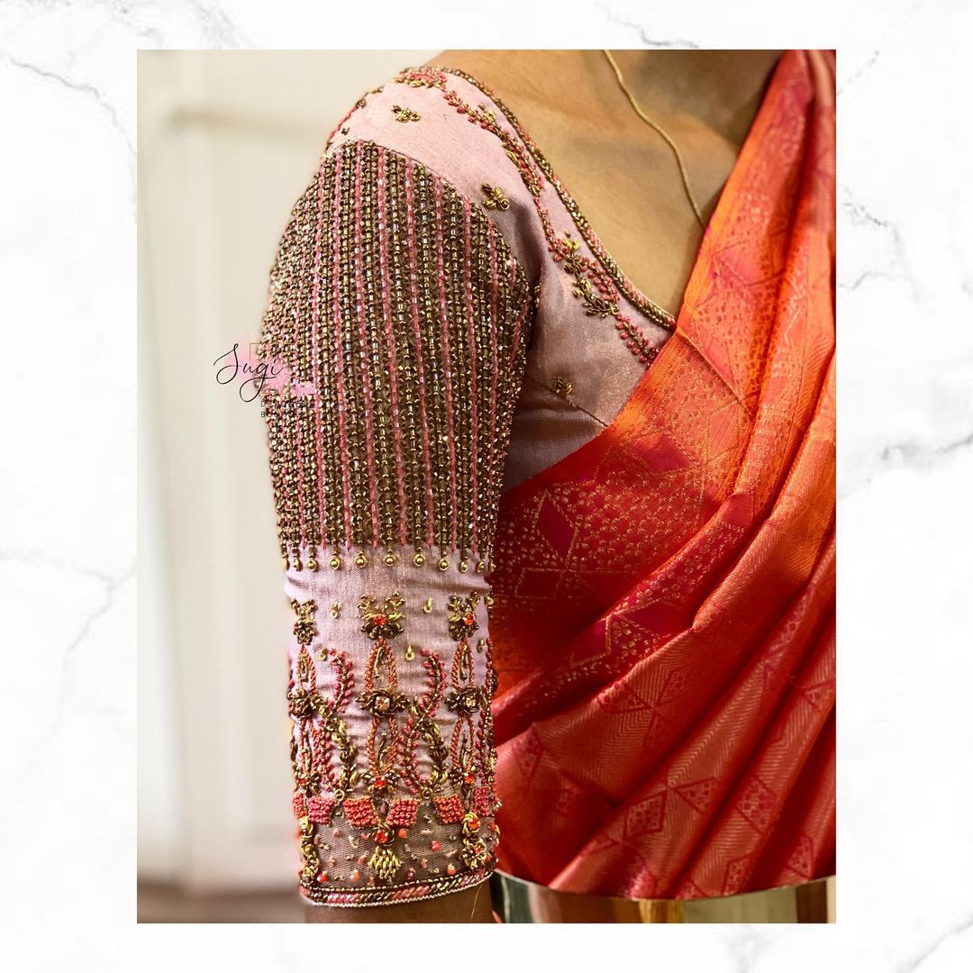 Gorgeous bridal blouse sleeves with classy and heavy aari work. 2021-07-27
