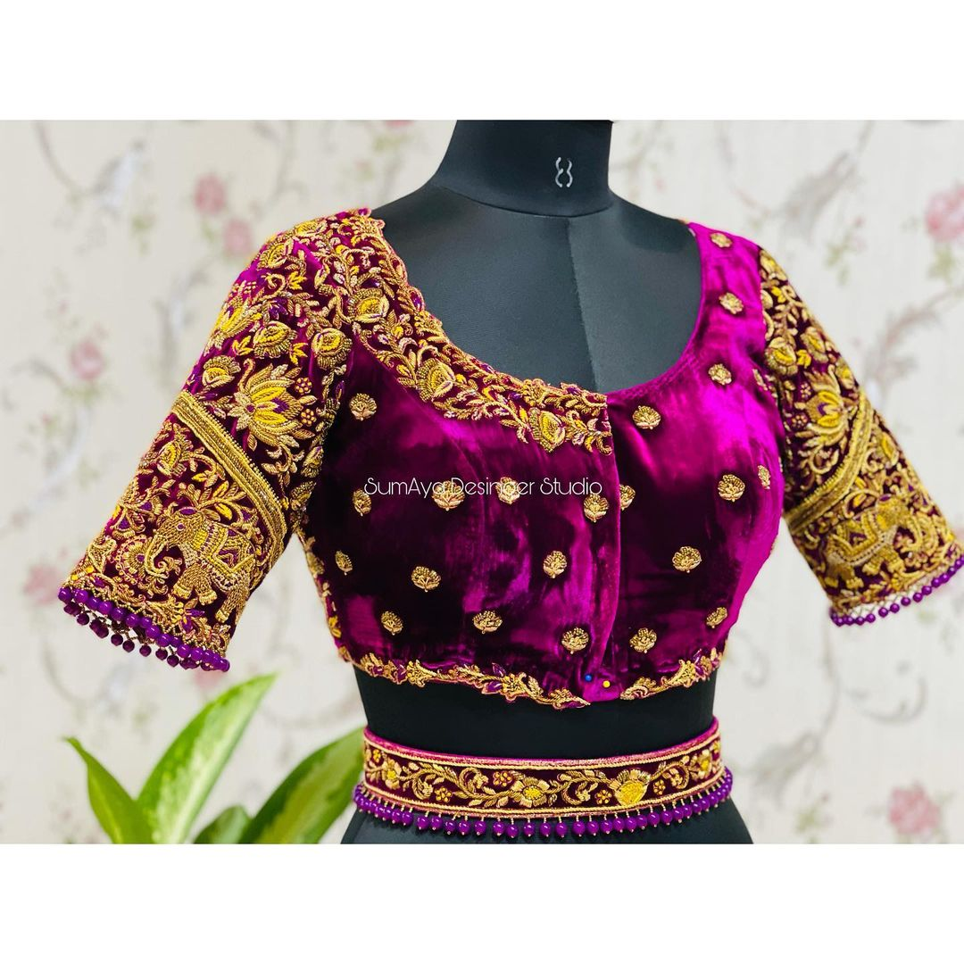 Bespoke bridal blouses.....  Classic Elegant and versatile hand crafted Bespoke bridal collections  Stunning purple color velvet cloth bridal blouse with heavy maggam work. 2021-07-27