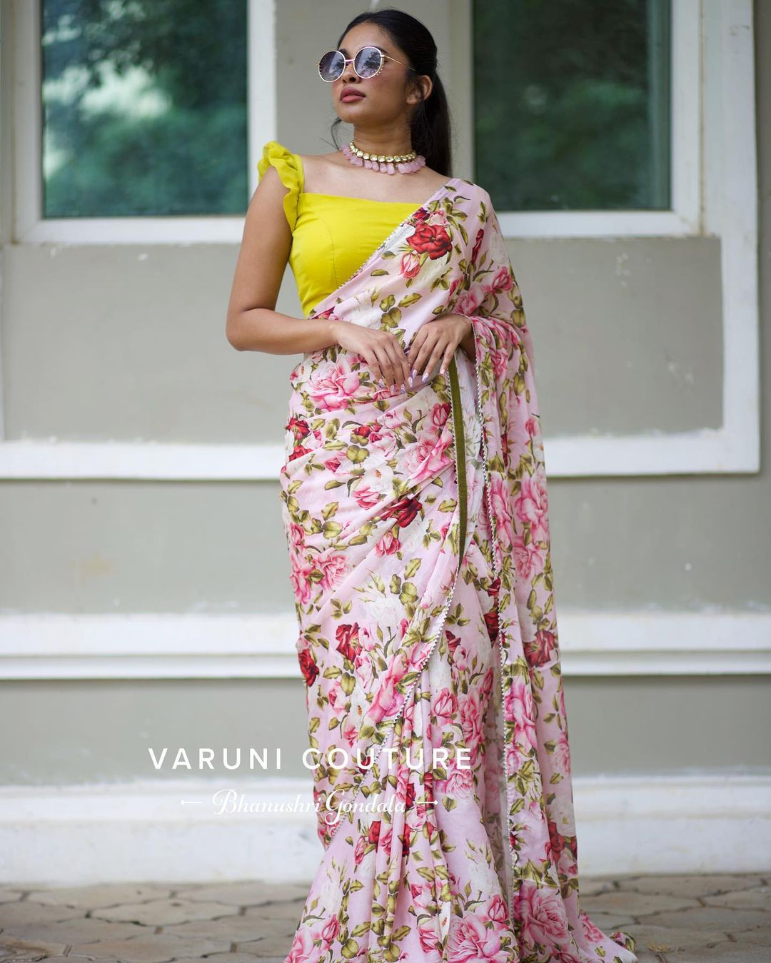 Stunning blush pink color floral saree. Get this super chick and gorgeous drape from our FLORA collection. For more info whatsapp  on 9121017226. 2021-07-27