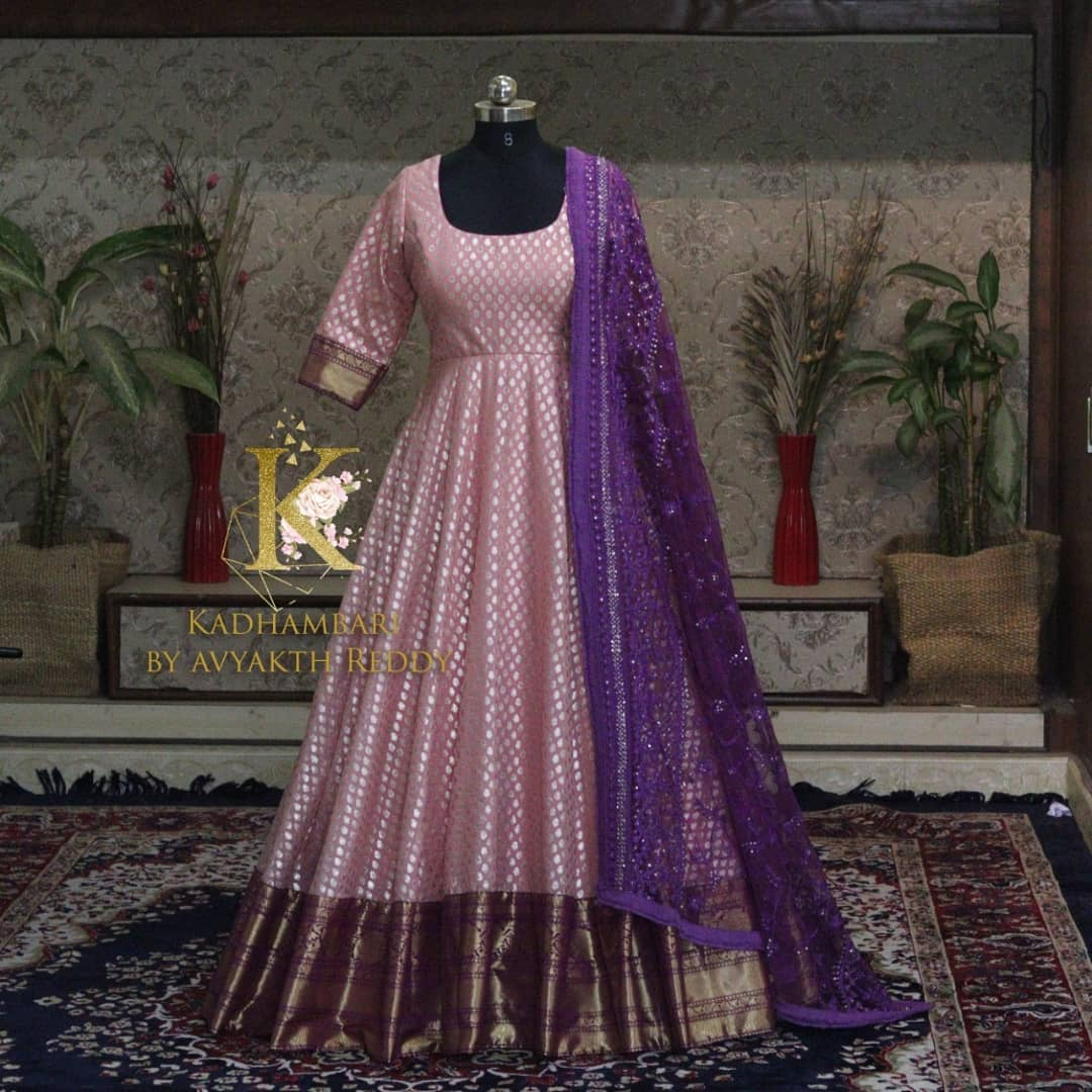 Stunning blush pink color pattu long frock with net dupatta. This outfit is Available at Rs 7500/- 2021-07-27