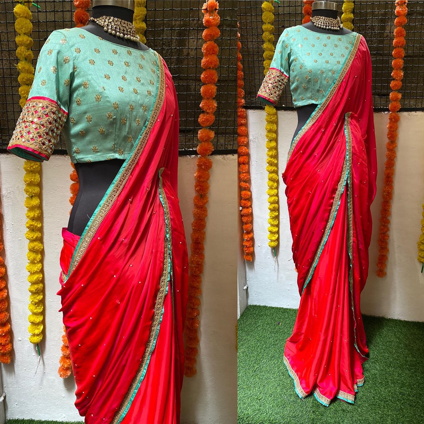 Dual shades Rani pink chiffon saree paired up with sea blue pati and border is matched with sea blue rich silk self embroidery blouse with original mirror works..!!  For orders watsapp  on 9790242572 Mail  on orders@threadslabel.com. 2021-07-28