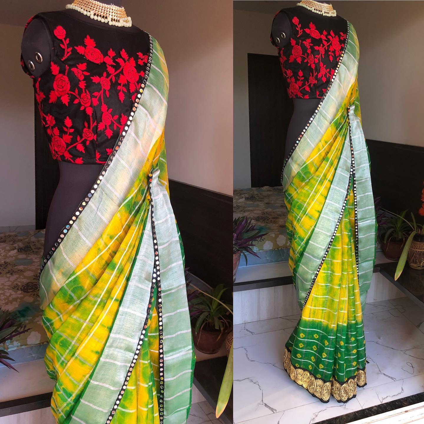 New black Floral Chiffon saree with green Border and matching blouse..! the blouse comes with heavy maggam works and sleeves includes the same..!!   We ship worldwide  For orders and Enquires watsapp us on 8072774265 2021-07-28